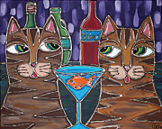 Vino Mixed Media Posters - Martini at Cat Bar Poster by Cynthia Snyder