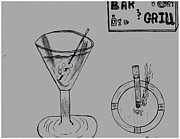 Relaxed. Drawings Prints - Martini Break At The Bar And Grill Print by Shaunna Juuti