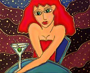 Cocktails Mixed Media Originals - Martini Dreams by Cynthia Snyder