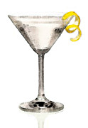 Entertaining Metal Prints - Martini Glass Art - Just Dry Metal Print by Sharon Cummings