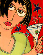 Cocktails Mixed Media Originals - Martini Night by Cynthia Snyder