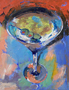 Olive Oil Prints - Martini Oil Painting Print by Michael Creese