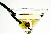 Happy Hour Prints - Martini With Green Olive Print by Sharon Cummings