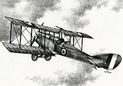 Biplane Drawings - Martinsyde G 100 by James Williamson