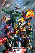 Marvel Comics Prints - Marvel Comics Secret Wars Print by Ryan Barger