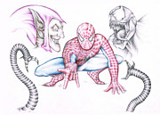 Signed Drawings Prints - Marvel Spiderman Green Goblin and Venom  Print by Steven Davis