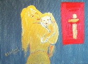 New Testament Painting Originals - Mary and Baby Jesus 1 by Richard W Linford