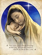 Jesus Digital Art - Mary and baby Jesus blue with quote by Ray Downing