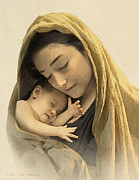 Jesus Digital Art - Mary and baby Jesus by Ray Downing