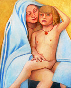 Light Of The World Paintings - Mary and Child by Deenie Wallace