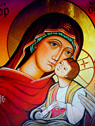 Jesus Christ Icon Prints - Mary and Jesus Icon Print by Ryszard Sleczka