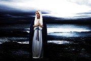 Blessed Virgin Mary Framed Prints - Mary by the Sea Framed Print by Cinema Photography