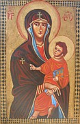 Icon Byzantine Painting Posters - Mary Help of the Romans Poster by Joseph Malham