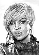 Mary Drawings - Mary j blige art drawing sketch portrait by Kim Wang
