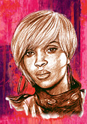 Mary Mixed Media Prints - Mary J. Blige stylised pop art drawing potrait poser Print by Kim Wang