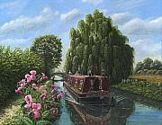 River Painting Originals - Mary Jane Chesterfield Canal Nottinghamshire by Richard Harpum