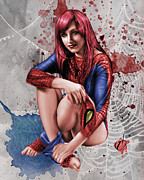 Pin Up Girl Paintings - Mary Jane Parker by Pete Tapang