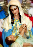 Prayer Cards Posters - Mary Poster by Karen Wiles