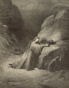 Bible Drawings Metal Prints - Mary Magdalene Metal Print by Antique Engravings
