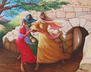 Mary Magdalene Discovering The Empty Tomb Print by Herschel Pollard