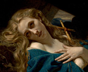 Religious Images Posters - Mary Magdalene In The Cave Poster by Hugues Merle