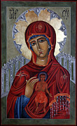 Orthodox Icons Paintings - Mary of the Burning Bush by Mary jane Miller