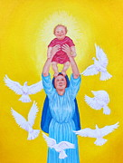 Child Jesus Paintings - Mary Offers Her Child Jesus to His Father by Michele Myers