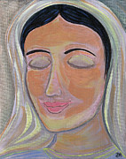 Queen Mary Paintings - Mary Pondering in Prayer by Danielle Tayabas