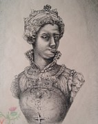 Queen Mary Drawings - Mary Queen of Scots by Karen Coggeshall