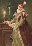 Candle Light Framed Prints - Mary Queen of Scots Framed Print by Sir James Dromgole Linton