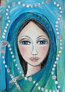 Mary Prints - Mary with White Rosary Beads Print by Denise Daffara