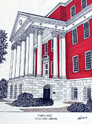 University Buildings Drawings Prints - Maryland Print by Frederic Kohli