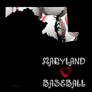 Baseball Digital Art Posters - Maryland Loves Baseball Poster by Andee Photography