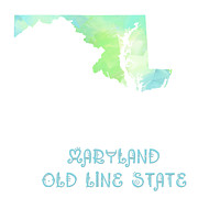 Old Map Mixed Media Prints - Maryland - Old Line State - Map - State Phrase - Geology Print by Andee Photography