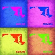 Maryland Posters - Maryland Pop Art Map 1 Poster by Irina  March
