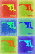 Maryland Framed Prints - Maryland Pop Art Map 2 Framed Print by Irina  March