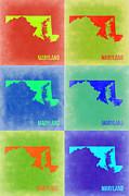 Maryland Pop Art Map 2 Print by Naxart Studio