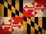 Maryland State Flag Art On Worn Canvas Print by Design Turnpike