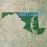 Maryland Framed Prints - Maryland Word Art State Map on Canvas Framed Print by Design Turnpike
