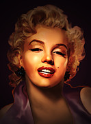 Celebrity Portrait Prints - Maryline Monroe Print by Christian Simonian