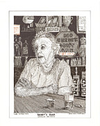Husband Drawings Posters - Marys Bar Cerrillos New Mexico Poster by Jack Pumphrey