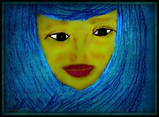 Religious Art Drawings - Marys Modest Blue Scarf by Sherry Gombert
