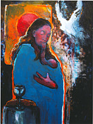 Christian Art Painting Originals - Marys Pondering by Daniel Bonnell
