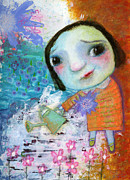Watering Can Mixed Media - Marys quite contrary by Shirley Dawson