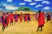 Tanzania Paintings - Masai dance by George Rossidis