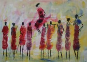 Masai Paintings - Masai Jumping by Abu Mwenye