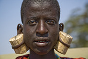 Pierced Ears Posters - Masai male with huge ear piercings Poster by David Litschel