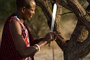Northern Africa Framed Prints - Masai Man with Machete Framed Print by David Litschel