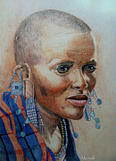 Tribal Art Paintings - Masai Woman by Desmond Manuel