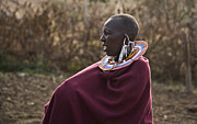Northern Africa Framed Prints - Masai Woman with large beaded neck piece Framed Print by David Litschel